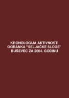 Kronologija aktivnosti Ogranka Seljačke sloge Buševec za 2004. godinu.